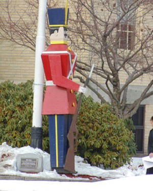 Toy Soldier outside of Town Hall