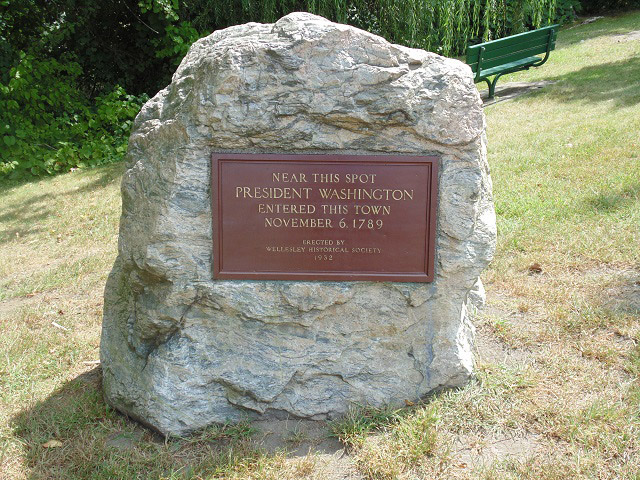 The spot where George Washington entered Wellesley in 1789.
